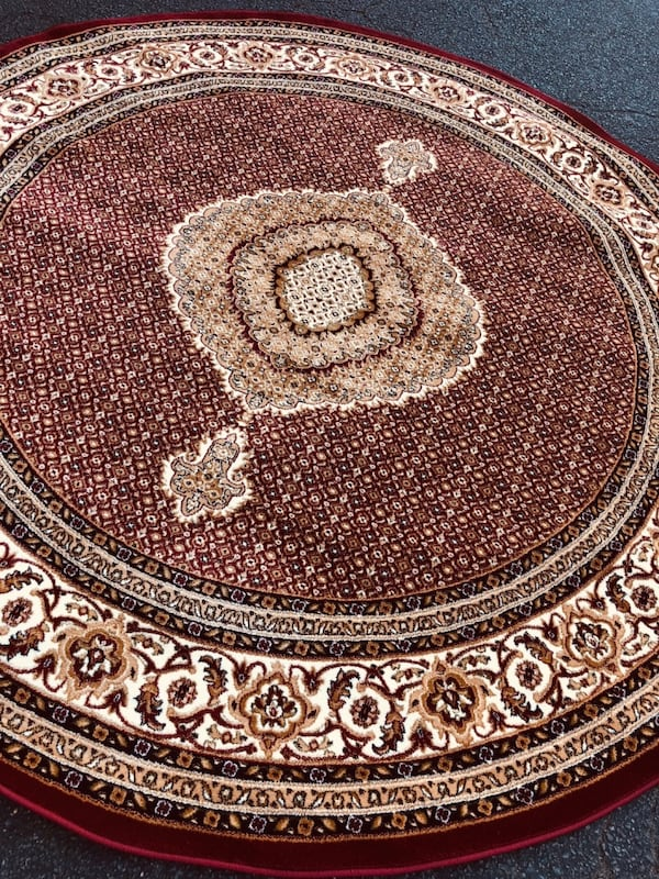 New Turkish Round rug size 8x8 circle carpet red burgundy Persian rugs b9781120-e856-4fa6-8ccb-3e97861d9208