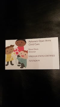 Asharee's Open Arms Child Care business card