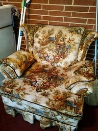 brown and white floral fabric sofa chair Youngsville, 27596