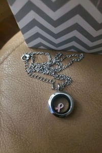 Silver plated locket with breast cancer logo Oakville, L6H 2K3