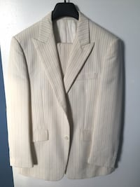 white and brown pinstripe coat