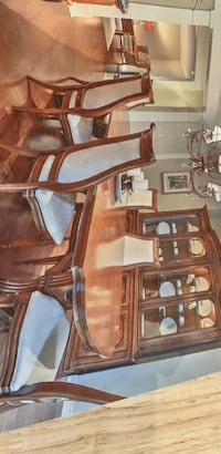 Dining room table 3 leaves seats 12  6 chairs with hutch solid black walnut Oakville, L6J 3Y1