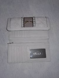 white Guess leather trifold wallet
