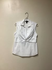 Women's APOSTROPHE white sleeveless stretch top w/side zipper… large
