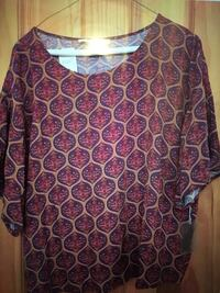 Forever 21 woven top multi color top blouse 3/4 sleeve sz large NWT New York, 10128
