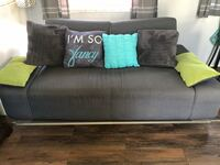Grey/lime futon includes 2 arm lime cushions and 2 pillows  Bloomington, 92316