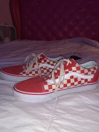 Low top red checkered vans