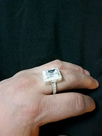 Squared silver ring