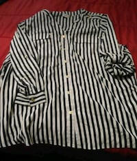 white and black striped long-sleeved blouse Lubbock, 79412