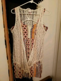 Printed Dress with Lace Cardigan Vest Annandale