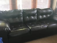 Black leather tufted sectional couch Roselle, 07203