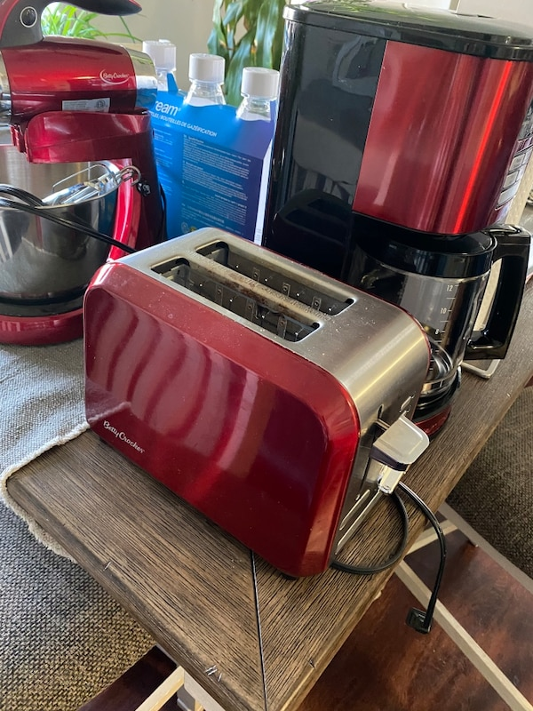 Red coffee maker, toaster and mixer  3d11246e-a8c9-4ebc-9c84-79360f075f93