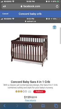 Concord baby crib and mattress Edmonton, T6T 0M3
