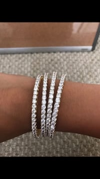 silver-colored diamond studded bracelet Los Angeles, 91602
