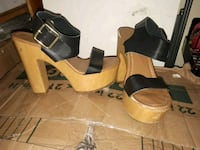 pair of black-and-brown wedge sandals New Westminster