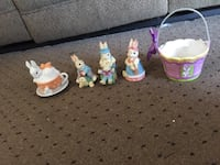 Bunny attached cup  saucer, three bunny small glass easter basket Nashville, 37221