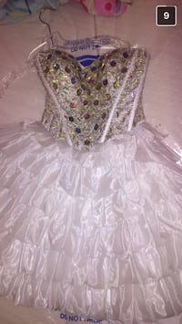 silver and white strapless grad dress