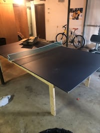 Ping Pong table top with homemade frame, extra net with clamps, extra paddles and balls Nashville, 37211