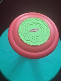 round pink and green plastic container Longmeadow, 01106