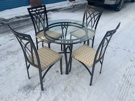 GLASS DINING TABLE SET W/ 4 CHAIRS - GOOD CONDITION - FREE DELIVERY