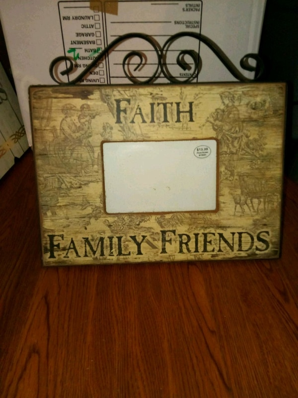 beige faith family friends picture frame