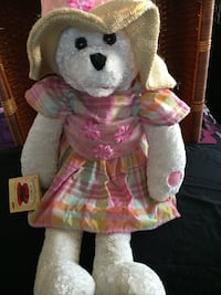 Chantilly Lane Collection. Pink Plaid Dress & Sun Cap Bear. $25 Obo. With Tags.  West Jordan