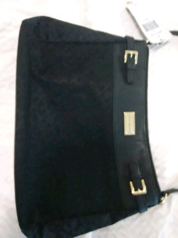 black leather Michael Kors tote bag