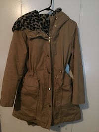 brown and black trench coat
