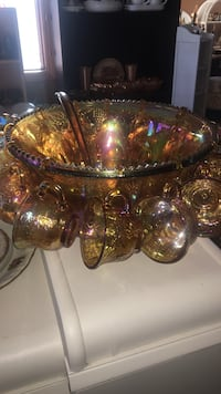 Vintage Carnival Punch Bowl Set