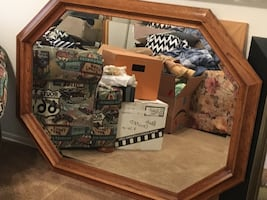 Oak Framed Beveled Mirror