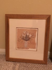 brown wooden framed painting of flowers SUGARLAND