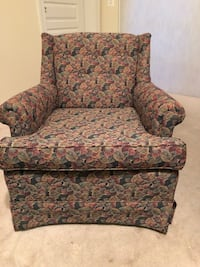 brown and green floral fabric sofa chair 39 km