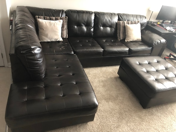 Alliston DuraBlend Chocolate Sectional w/ Ottoman 1664de63-ddd8-41e0-bdd3-e1d54ca4acae