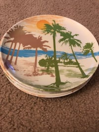 Outdoor Plastic Dinnerware with palm tree design. Furlong, 18925