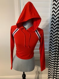 SWS Crop top long sleeve with hoodie women size small