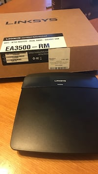 black Linksys Wi-Fi router with box Alexandria, 22307