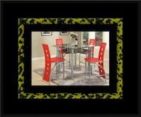 Red counter height table with 4 chairs McLean