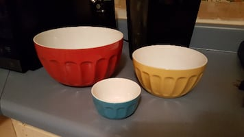 Chef's Mark 3 Pc. Stoneware Mixing Bowl Set