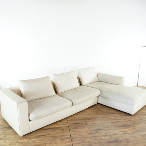 Camerich Mid Century Modern Style White Upholstered Sectional Sofa (1026019)