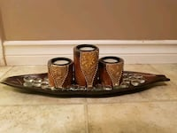 3 wooden candle holders with tray.  Mission, V2V 2C1
