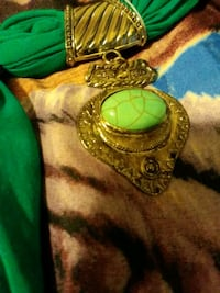 gold-colored and green gemstone pendant Oklahoma City, 73122