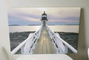 Painting of a Coastal Lighthouse on Canvas