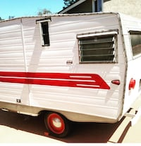 White and red rv trailer
