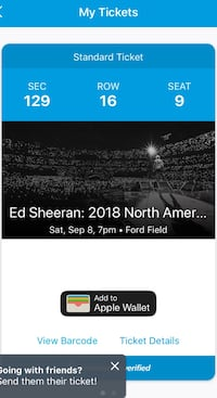 2 Ed Sheeran tickets lower level Troy