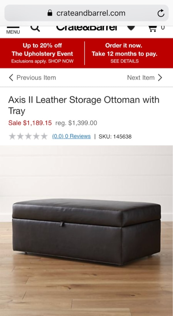 Create & Barrel Leather storage ottoman with tray