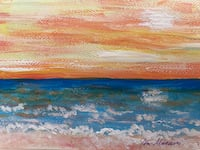 Sunset landscape hand-painted greeting card Brooklyn, 21225