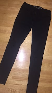 Black American eagle  ripped super stretch jeans size 0