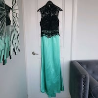 Black and mint green custom-made Satin woman's evening gown.  Toronto