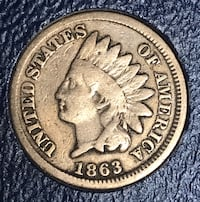 1863 Authentic Civil War Indian Head One Cent Penny Coin! Semi Key Date! Greer, 29650