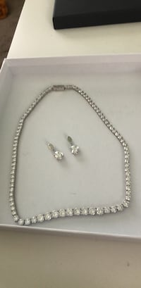 silver-colored necklace and earrings West Covina, 91790